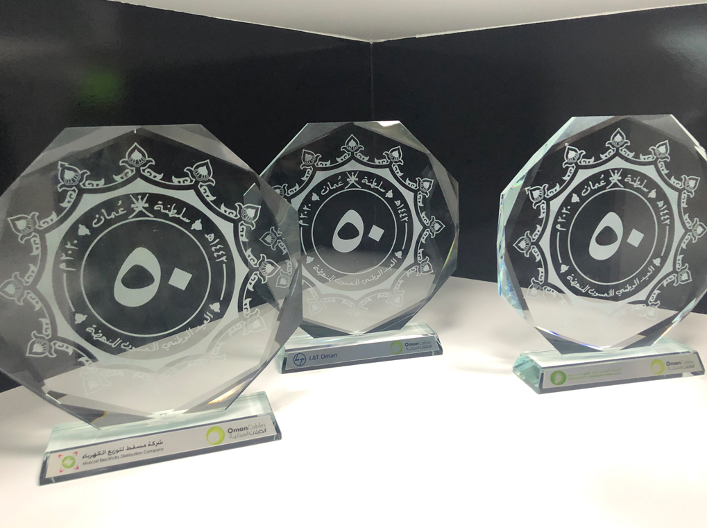 Custom Crystal trophies with engraving.